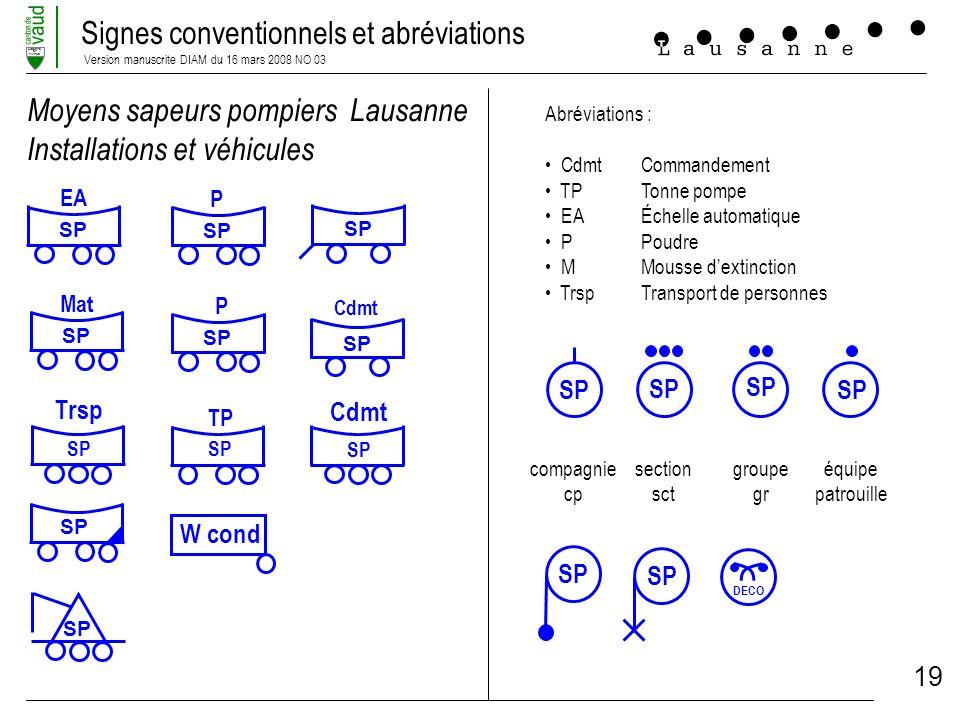Signes conventionnels et abréviations Version manuscrite DIAM du 16 mars 2008 NO 03 LIBERTE ET PATRIE 19 Moyens sapeurs pompiers Lausanne Installation