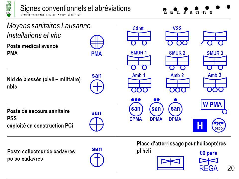 Signes conventionnels et abréviations Version manuscrite DIAM du 16 mars 2008 NO 03 LIBERTE ET PATRIE 20 Moyens sanitaires Lausanne Installations et v