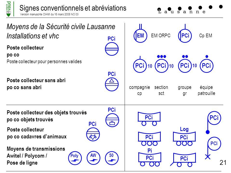 Signes conventionnels et abréviations Version manuscrite DIAM du 16 mars 2008 NO 03 LIBERTE ET PATRIE 21 Moyens de la Sécurité civile Lausanne Install