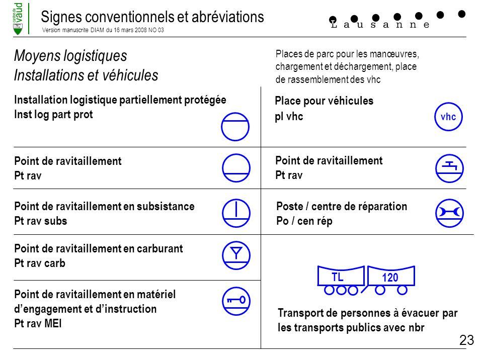 Signes conventionnels et abréviations Version manuscrite DIAM du 16 mars 2008 NO 03 LIBERTE ET PATRIE 23 Moyens logistiques Installations et véhicules