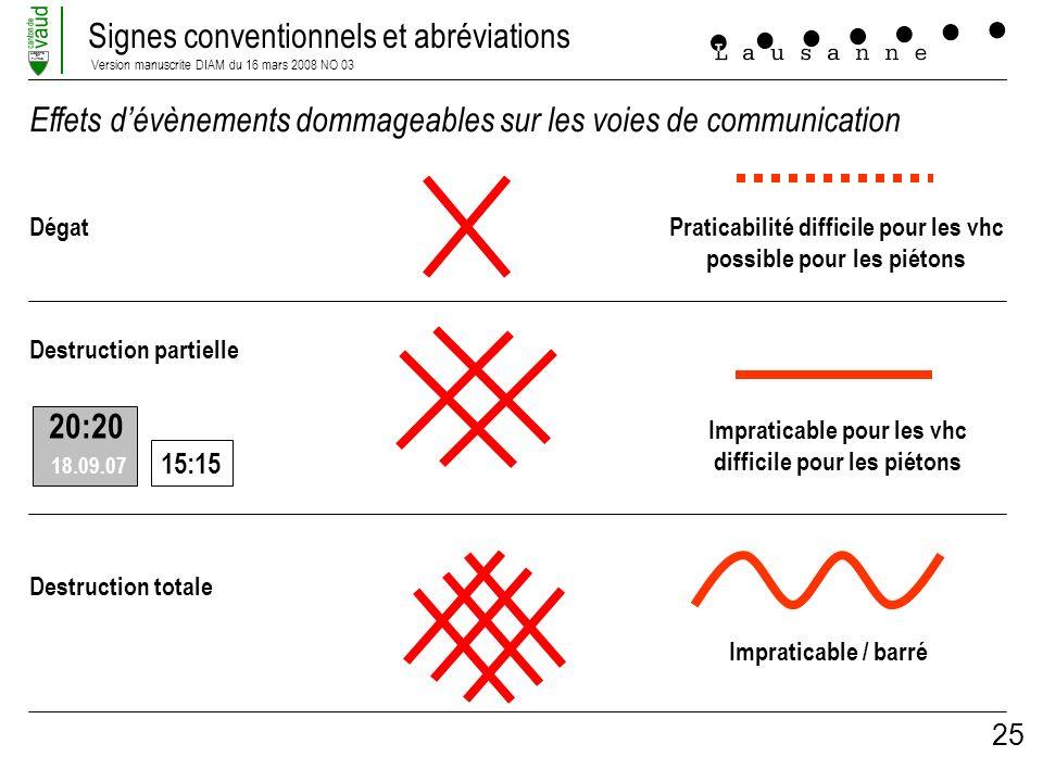 Signes conventionnels et abréviations Version manuscrite DIAM du 16 mars 2008 NO 03 LIBERTE ET PATRIE 25 Effets dévènements dommageables sur les voies