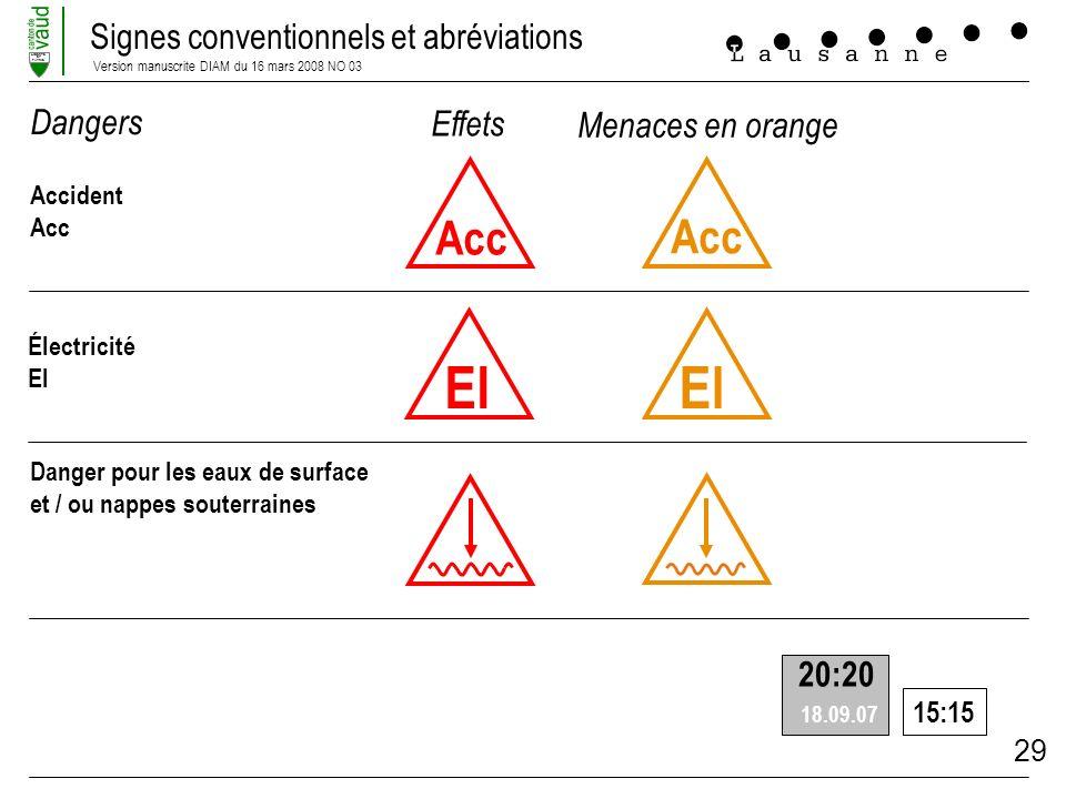 Signes conventionnels et abréviations Version manuscrite DIAM du 16 mars 2008 NO 03 LIBERTE ET PATRIE 29 Acc Accident Acc El Électricité El Danger pou