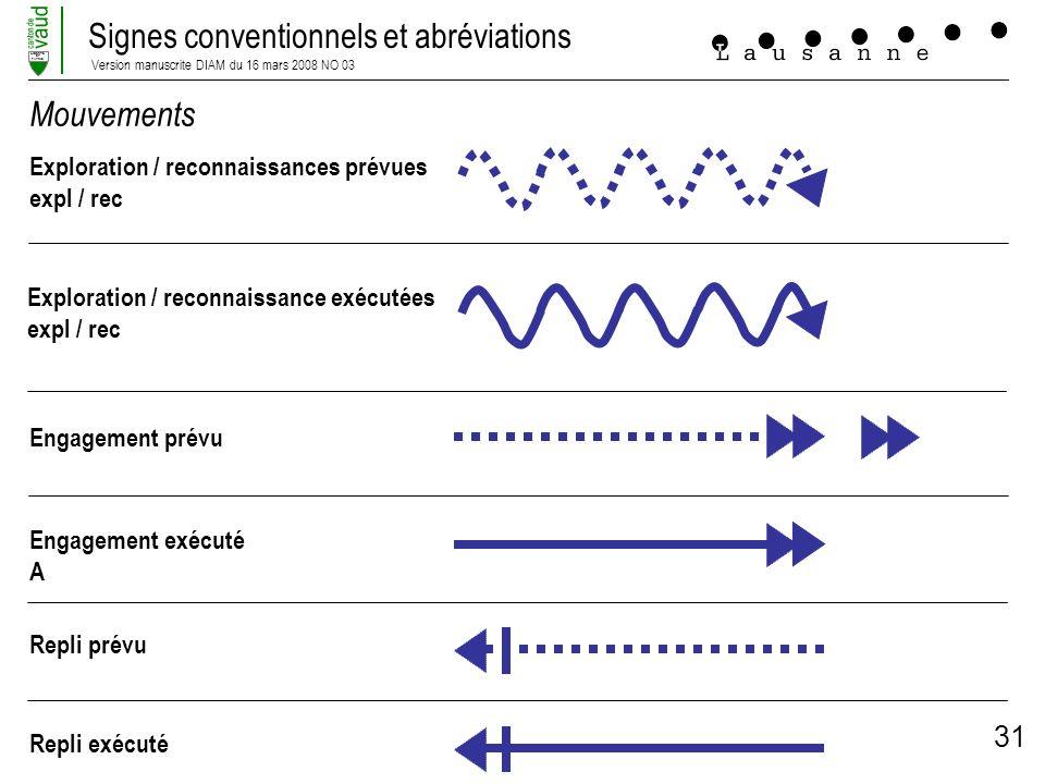 Signes conventionnels et abréviations Version manuscrite DIAM du 16 mars 2008 NO 03 LIBERTE ET PATRIE 31 Mouvements Exploration / reconnaissances prév