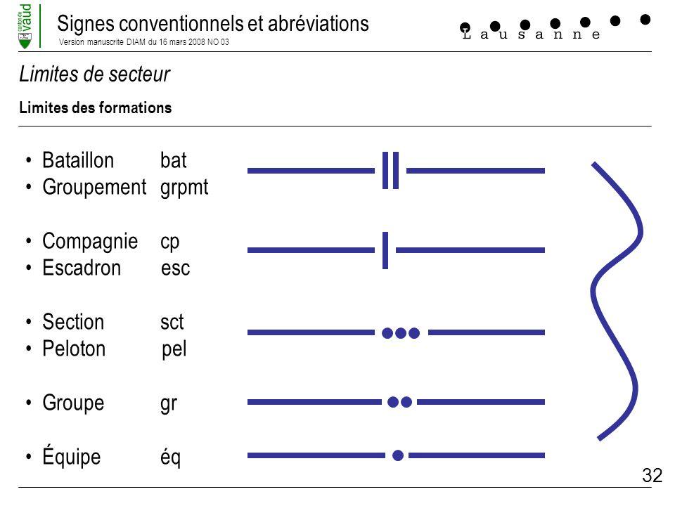Signes conventionnels et abréviations Version manuscrite DIAM du 16 mars 2008 NO 03 LIBERTE ET PATRIE 32 Limites de secteur Limites des formations Bat