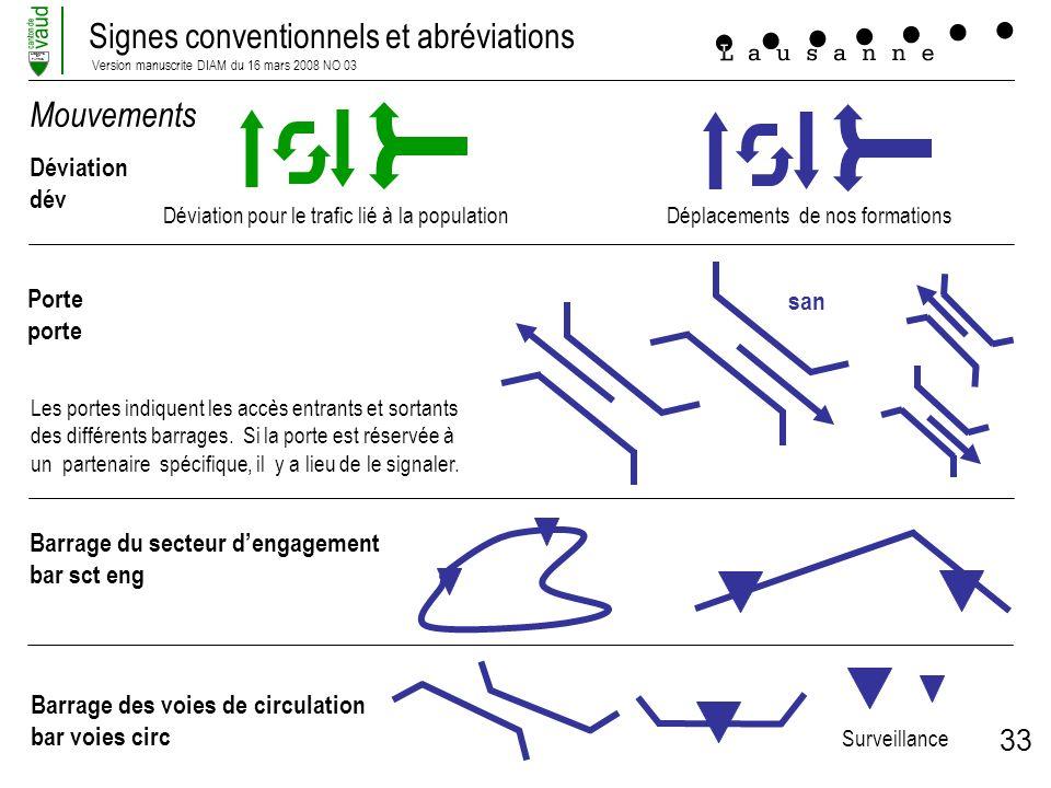 Signes conventionnels et abréviations Version manuscrite DIAM du 16 mars 2008 NO 03 LIBERTE ET PATRIE 33 Mouvements Déviation dév Porte porte Barrage