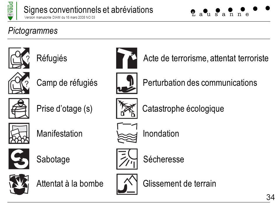 Signes conventionnels et abréviations Version manuscrite DIAM du 16 mars 2008 NO 03 LIBERTE ET PATRIE 34 Réfugiés Camp de réfugiés Prise dotage (s) Ma