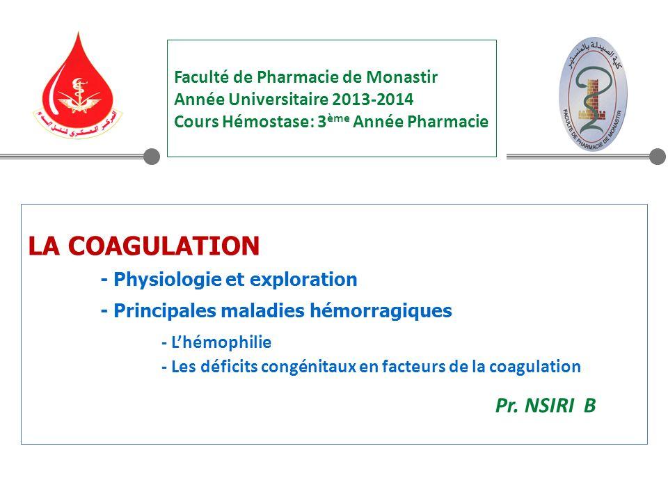 LA COAGULATION - Physiologie et exploration - Principales maladies hémorragiques - Lhémophilie - Les déficits congénitaux en facteurs de la coagulation Pr.