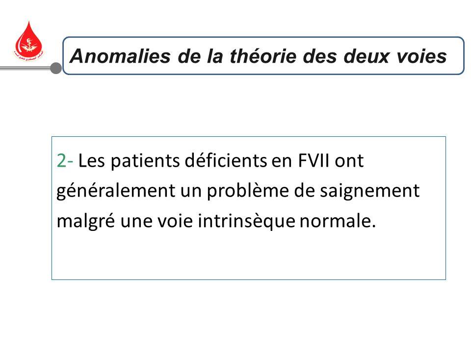 2- Les patients déficients en FVII ont généralement un problème de saignement malgré une voie intrinsèque normale. Anomalies de la théorie des deux vo