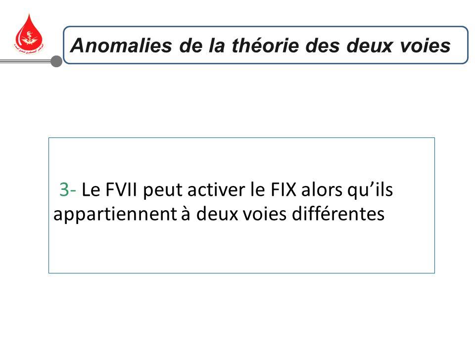 3- Le FVII peut activer le FIX alors quils appartiennent à deux voies différentes Anomalies de la théorie des deux voies