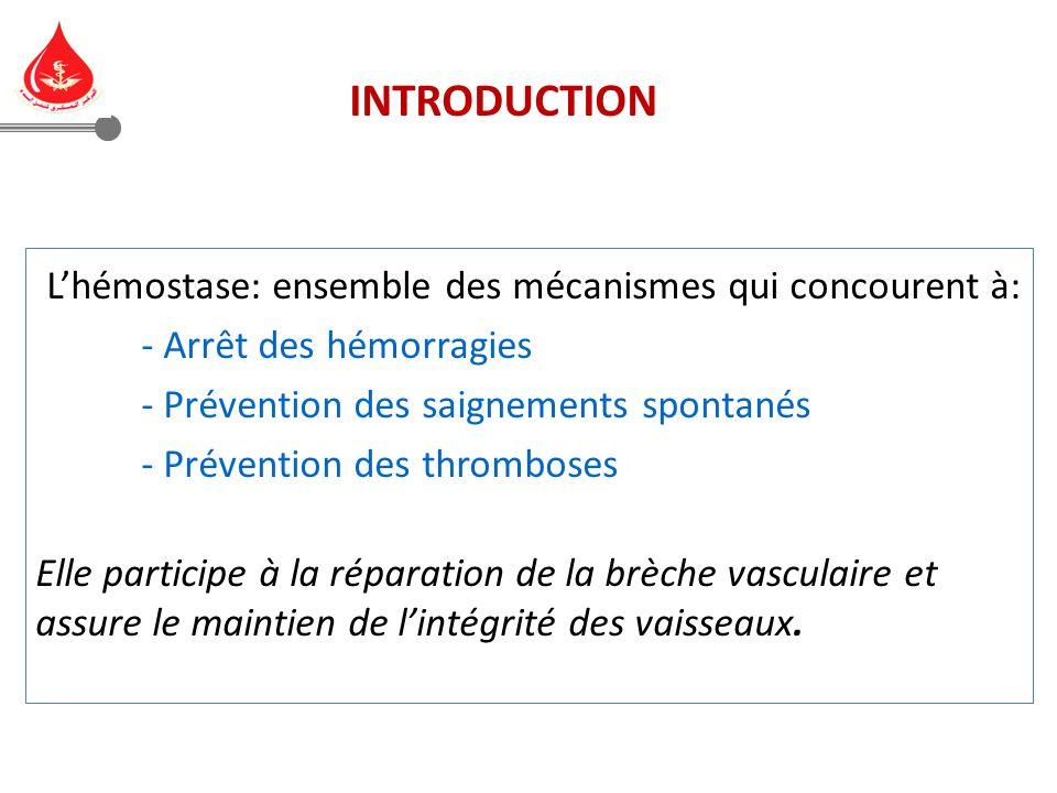 Lhémostase: ensemble des mécanismes qui concourent à: - Arrêt des hémorragies - Prévention des saignements spontanés - Prévention des thromboses Elle