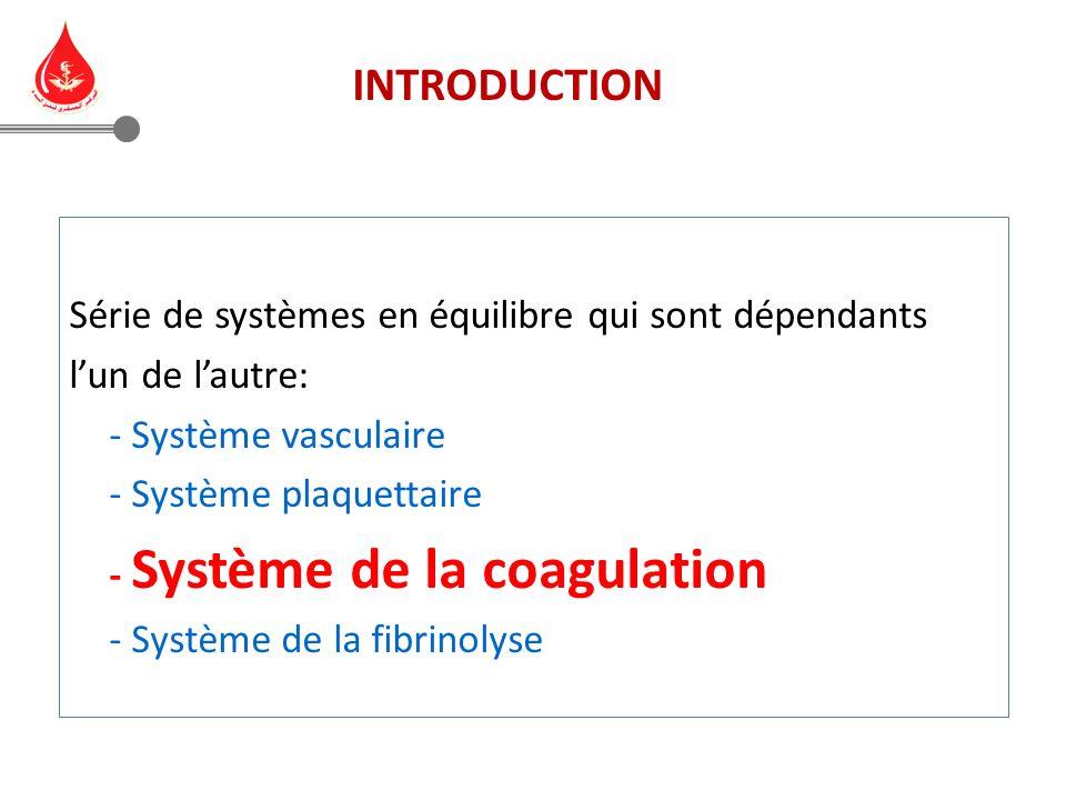 Série de systèmes en équilibre qui sont dépendants lun de lautre: - Système vasculaire - Système plaquettaire - Système de la coagulation - Système de