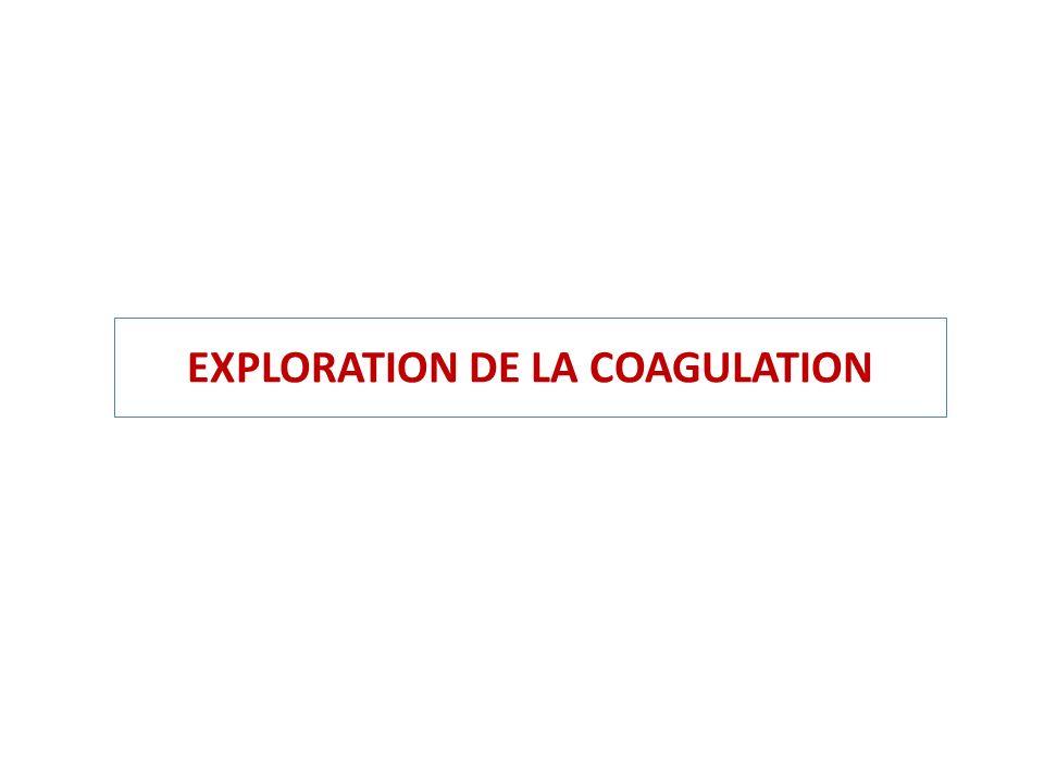 EXPLORATION DE LA COAGULATION