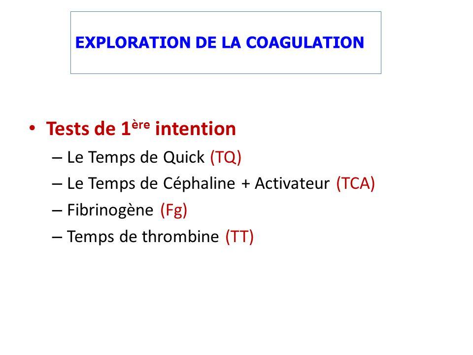 Tests de 1 ère intention – Le Temps de Quick (TQ) – Le Temps de Céphaline + Activateur (TCA) – Fibrinogène (Fg) – Temps de thrombine (TT) EXPLORATION DE LA COAGULATION