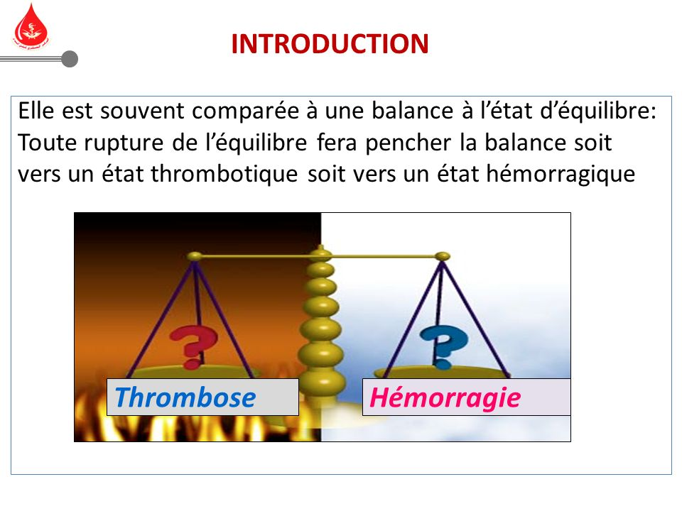 Elle est souvent comparée à une balance à létat déquilibre: Toute rupture de léquilibre fera pencher la balance soit vers un état thrombotique soit vers un état hémorragique HémorragieThrombose INTRODUCTION
