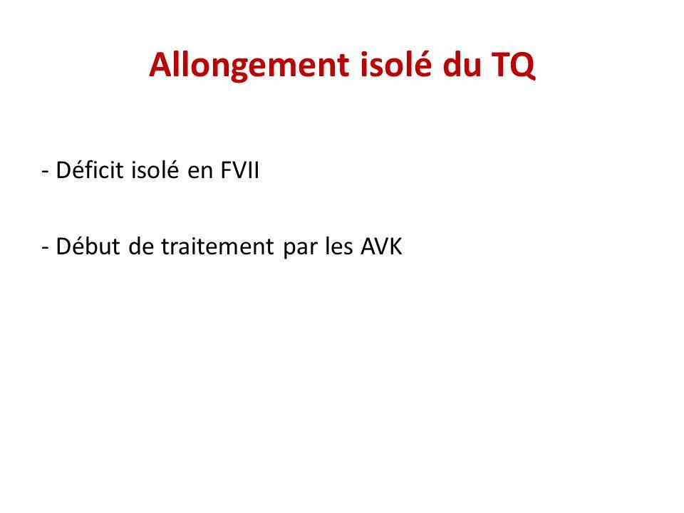 Allongement isolé du TQ - Déficit isolé en FVII - Début de traitement par les AVK