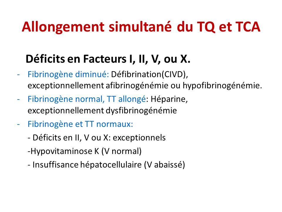 Allongement simultané du TQ et TCA Déficits en Facteurs I, II, V, ou X. -Fibrinogène diminué: Défibrination(CIVD), exceptionnellement afibrinogénémie