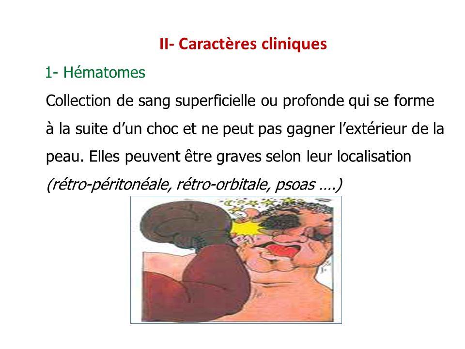 II- Caractères cliniques 1- Hématomes Collection de sang superficielle ou profonde qui se forme à la suite dun choc et ne peut pas gagner lextérieur d