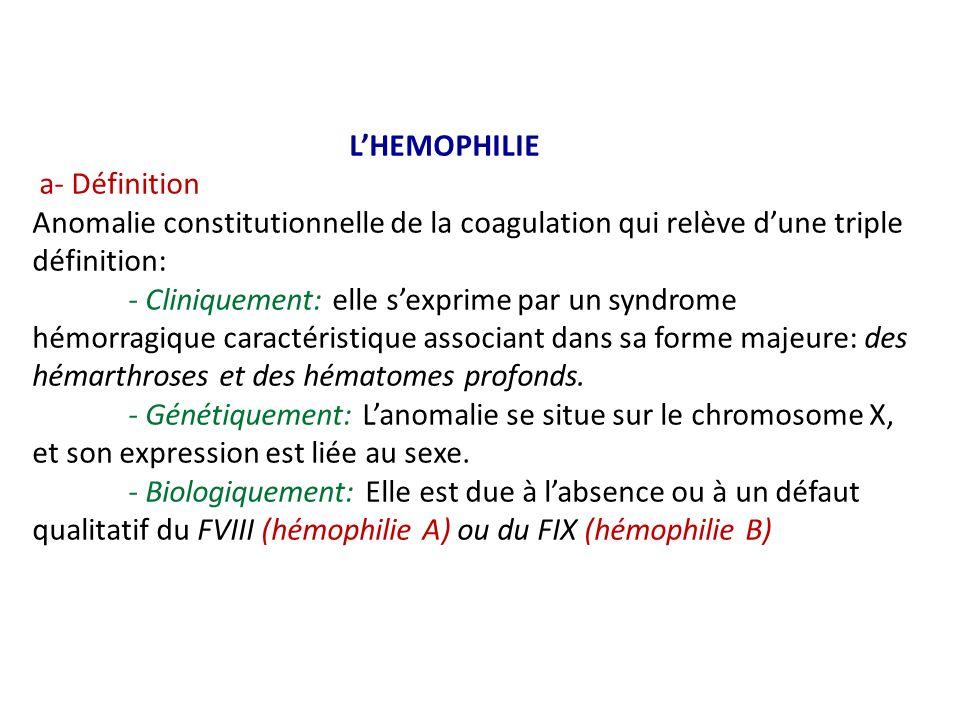 LHEMOPHILIE a- Définition Anomalie constitutionnelle de la coagulation qui relève dune triple définition: - Cliniquement: elle sexprime par un syndrom