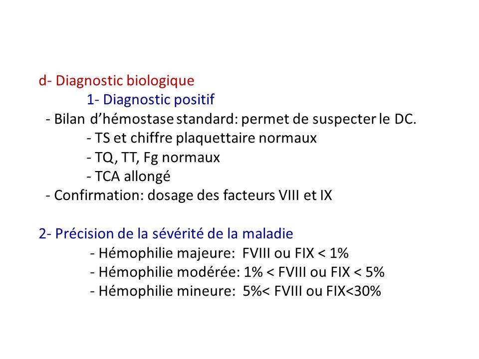 d- Diagnostic biologique 1- Diagnostic positif - Bilan dhémostase standard: permet de suspecter le DC. - TS et chiffre plaquettaire normaux - TQ, TT,