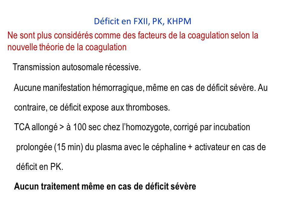Déficit en FXII, PK, KHPM Ne sont plus considérés comme des facteurs de la coagulation selon la nouvelle théorie de la coagulation Transmission autosomale récessive.