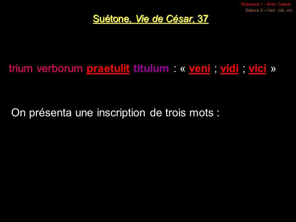 Séquence I - Avec Caesar Séance 3 – Veni, vidi, vici Suétone, Vie de César, 37 trium verborum praetulit titulum : « veni ; vidi ; vici » On présenta une inscription de trois mots :