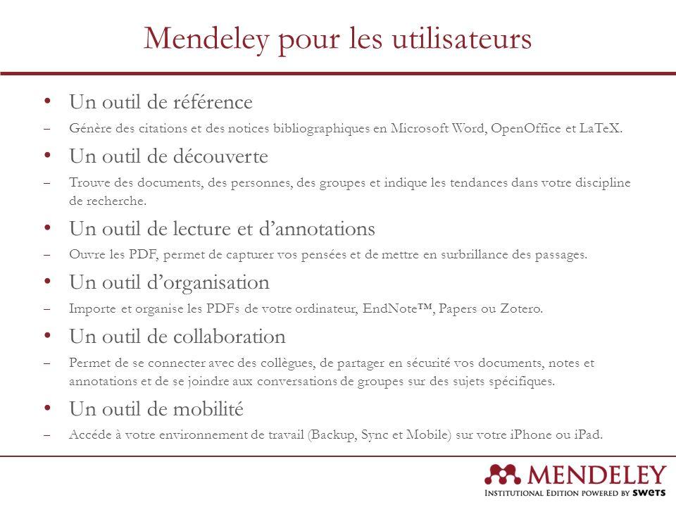 Un outil de référence – Génère des citations et des notices bibliographiques en Microsoft Word, OpenOffice et LaTeX. Un outil de découverte – Trouve d