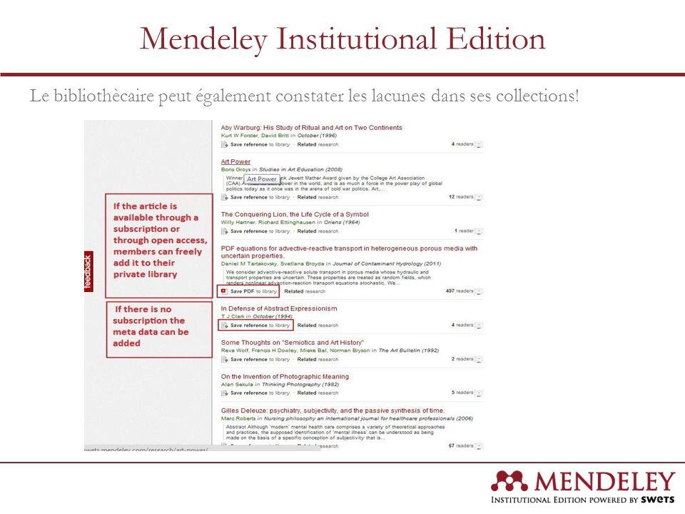 Le bibliothècaire peut également constater les lacunes dans ses collections! Mendeley Institutional Edition