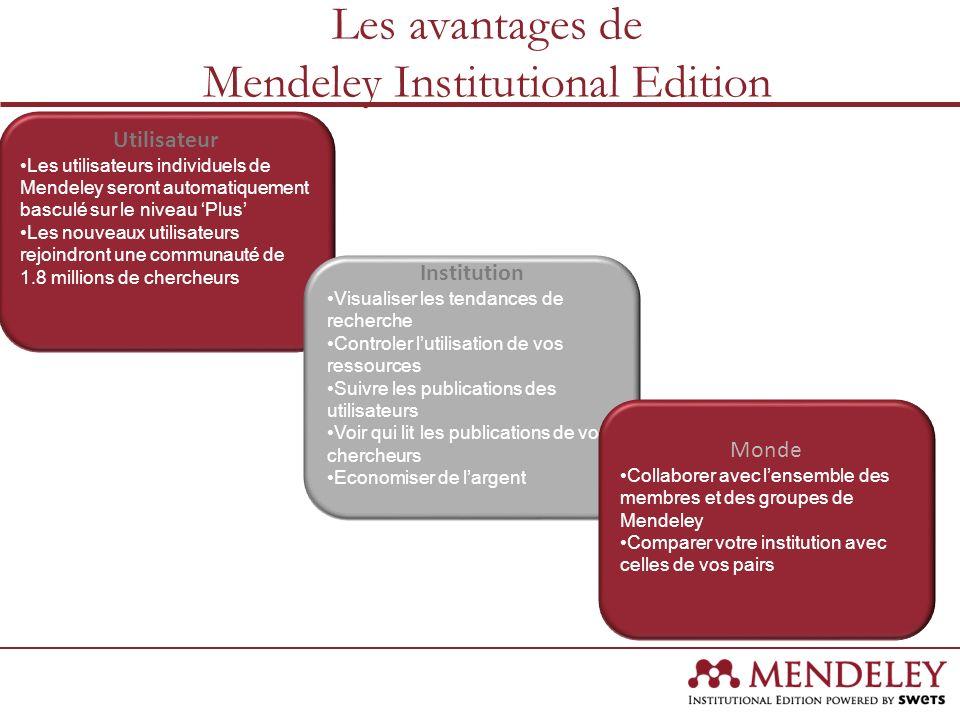 Les avantages de Mendeley Institutional Edition Utilisateur Les utilisateurs individuels de Mendeley seront automatiquement basculé sur le niveau Plus