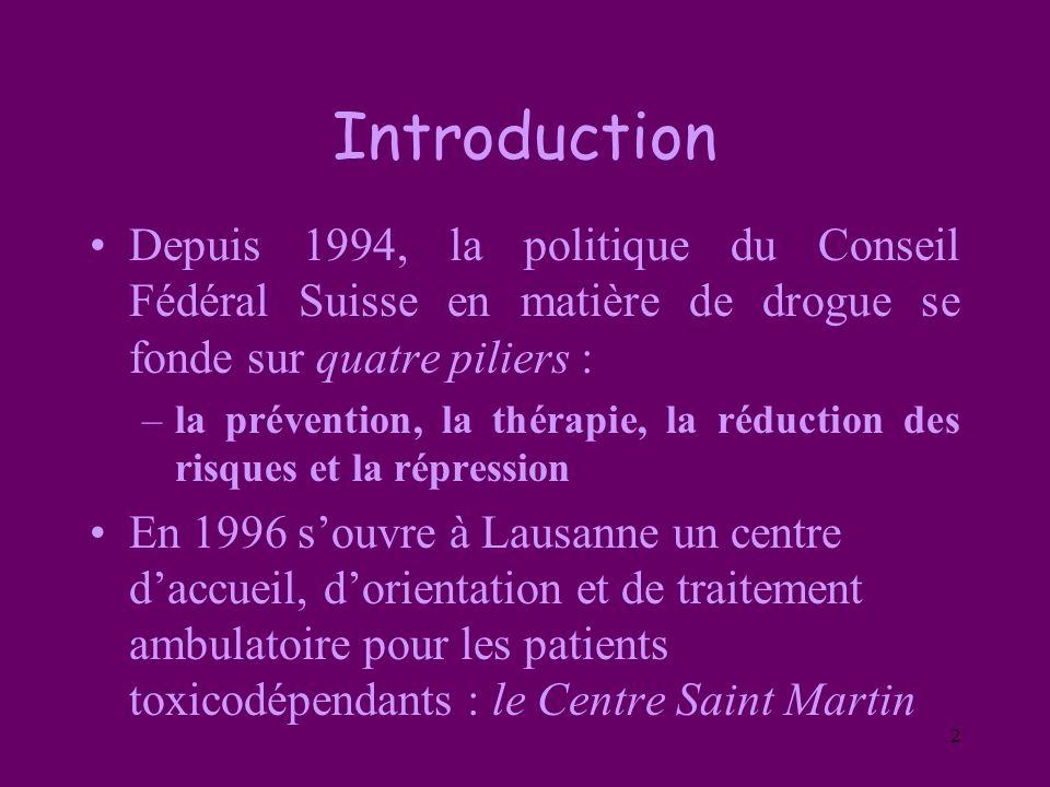 2 Introduction Depuis 1994, la politique du Conseil Fédéral Suisse en matière de drogue se fonde sur quatre piliers : –la prévention, la thérapie, la