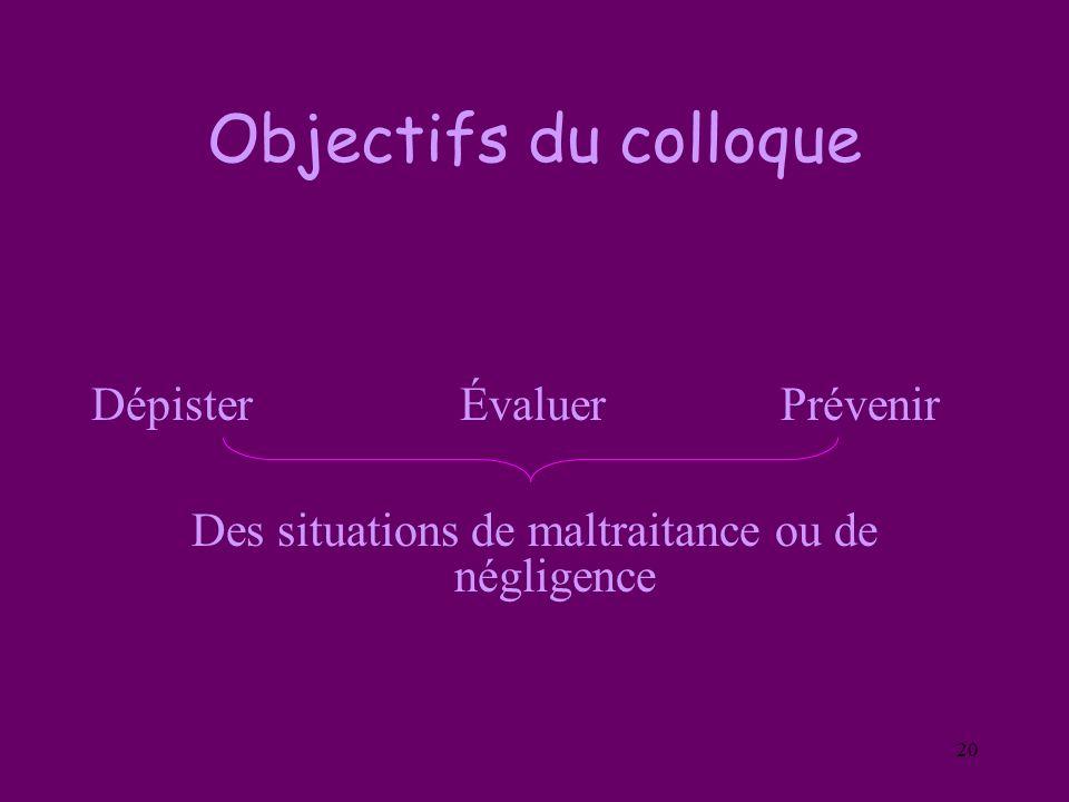 20 Objectifs du colloque Dépister Évaluer Prévenir Des situations de maltraitance ou de négligence