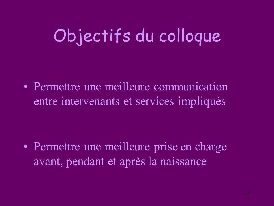 21 Objectifs du colloque Permettre une meilleure communication entre intervenants et services impliqués Permettre une meilleure prise en charge avant,