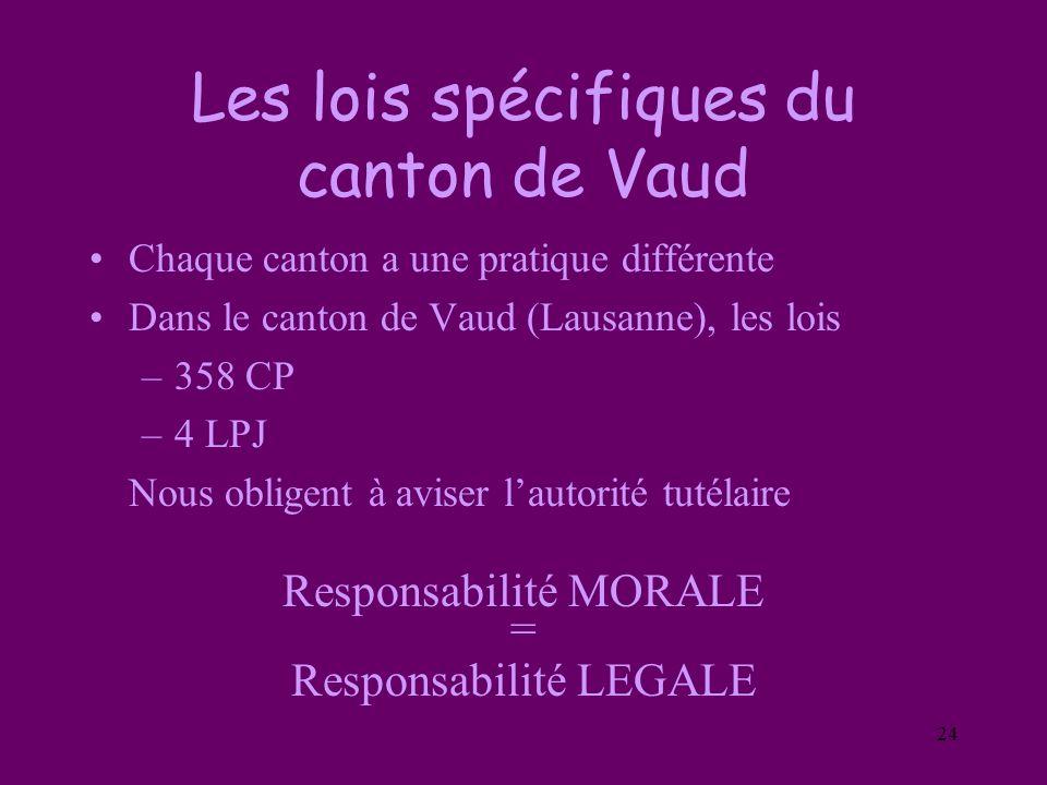 24 Les lois spécifiques du canton de Vaud Chaque canton a une pratique différente Dans le canton de Vaud (Lausanne), les lois –358 CP –4 LPJ Nous obli