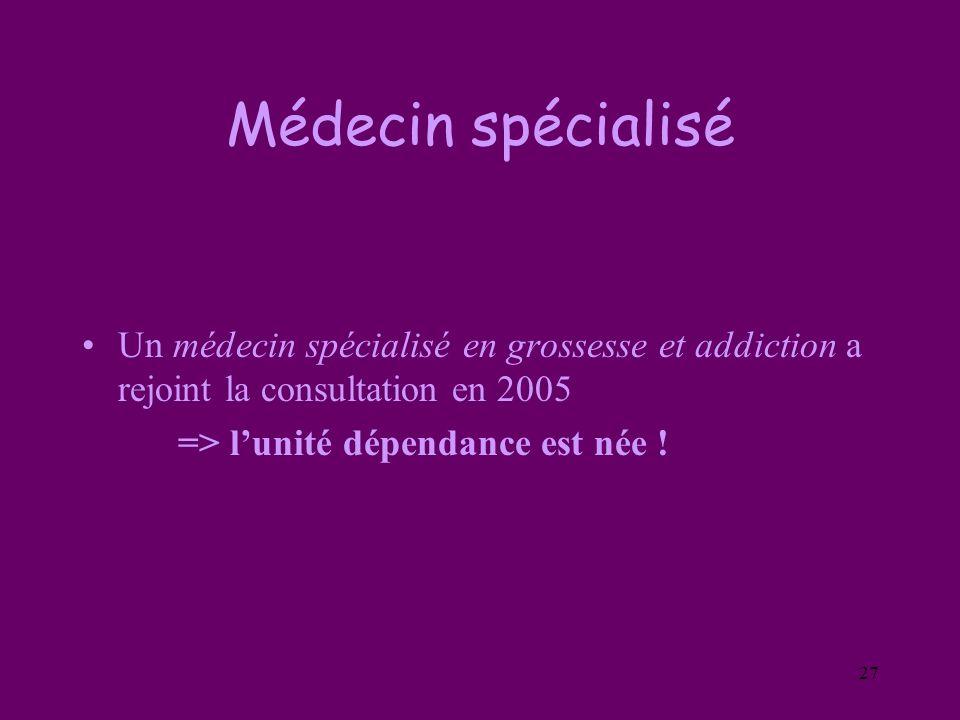27 Médecin spécialisé Un médecin spécialisé en grossesse et addiction a rejoint la consultation en 2005 => lunité dépendance est née !