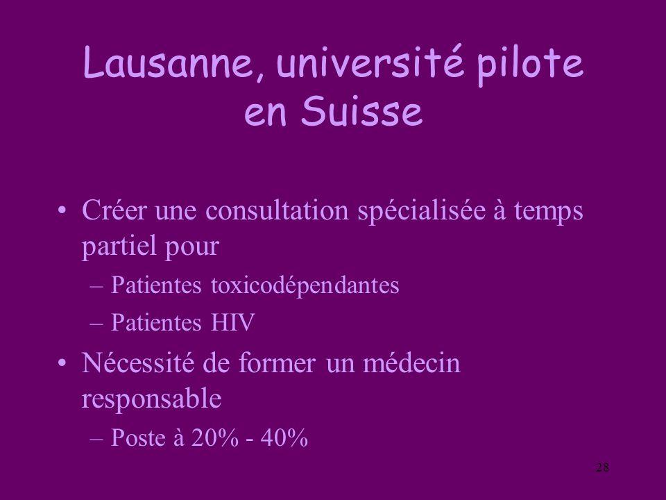 28 Lausanne, université pilote en Suisse Créer une consultation spécialisée à temps partiel pour –Patientes toxicodépendantes –Patientes HIV Nécessité