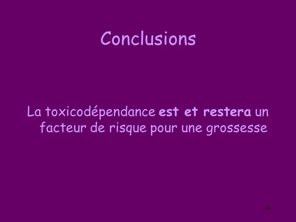 42 Conclusions La toxicodépendance est et restera un facteur de risque pour une grossesse