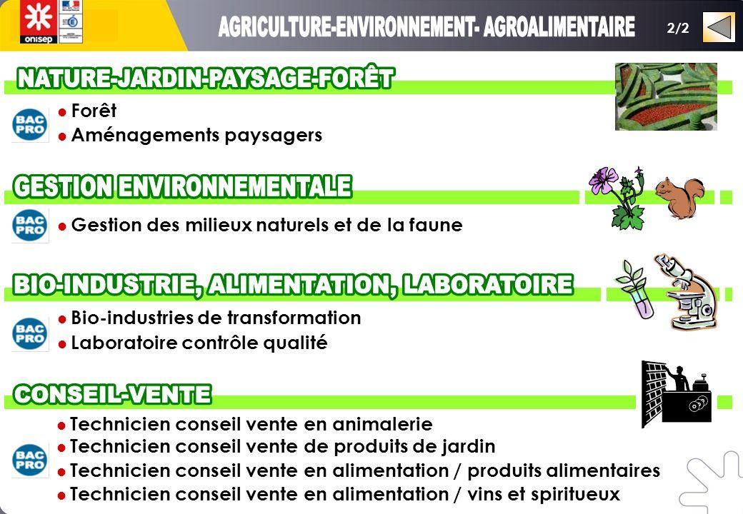 Bio-industries de transformation Laboratoire contrôle qualité 2/2 Gestion des milieux naturels et de la faune Forêt Aménagements paysagers Technicien