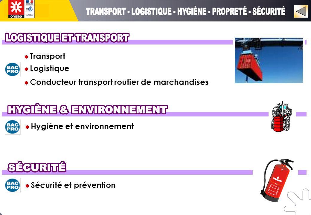 Hygiène et environnement Sécurité et prévention Transport Logistique Conducteur transport routier de marchandises