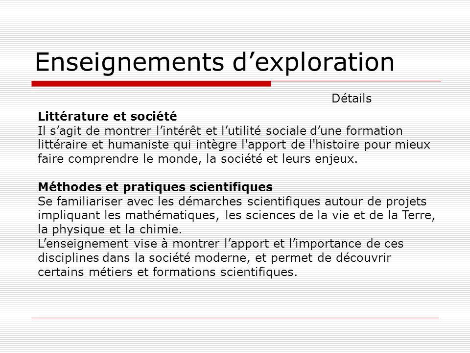 Enseignements dexploration Littérature et société Il sagit de montrer lintérêt et lutilité sociale dune formation littéraire et humaniste qui intègre