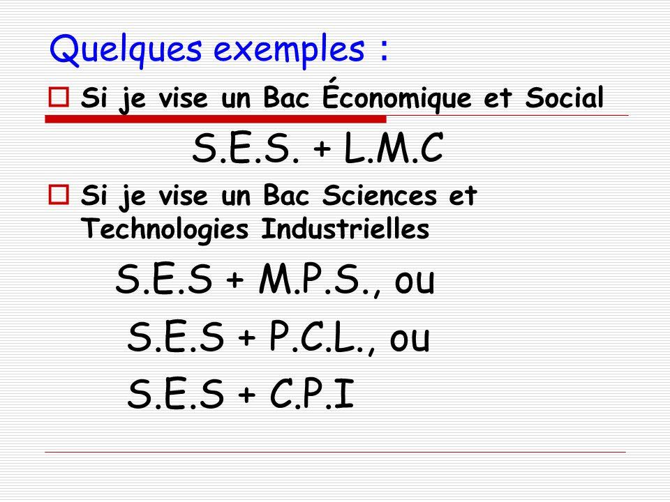 Quelques exemples : Si je vise un Bac Économique et Social S.E.S. + L.M.C Si je vise un Bac Sciences et Technologies Industrielles S.E.S + M.P.S., ou