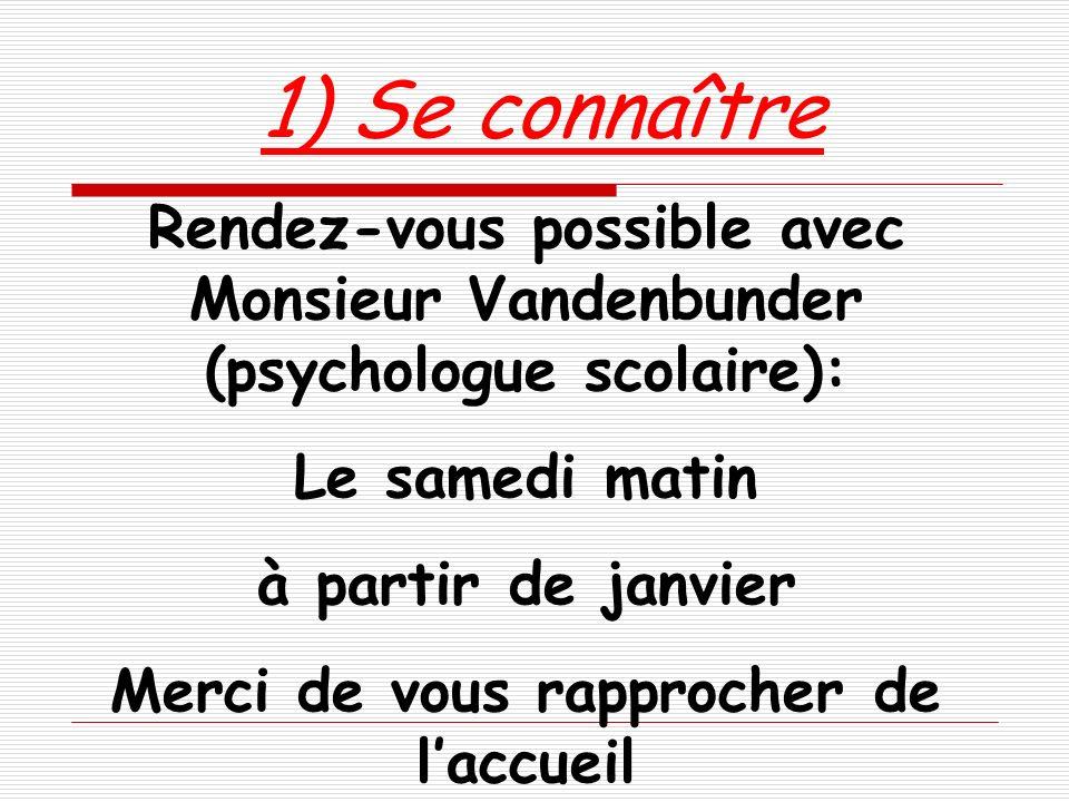 1) Se connaître Rendez-vous possible avec Monsieur Vandenbunder (psychologue scolaire): Le samedi matin à partir de janvier Merci de vous rapprocher d