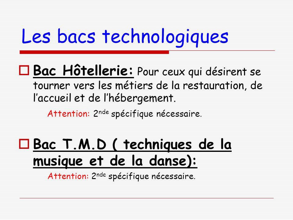 Les bacs technologiques Bac Hôtellerie: Pour ceux qui désirent se tourner vers les métiers de la restauration, de laccueil et de lhébergement. Attenti