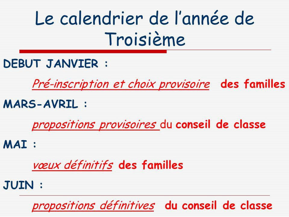 Le calendrier de lannée de Troisième DEBUT JANVIER : Pré-inscription et choix provisoire des familles MARS-AVRIL : propositions provisoires du conseil