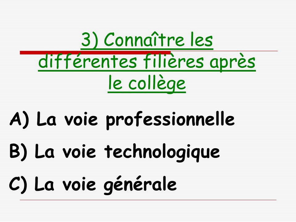 3) Connaître les différentes filières après le collège A) La voie professionnelle B) La voie technologique C) La voie générale