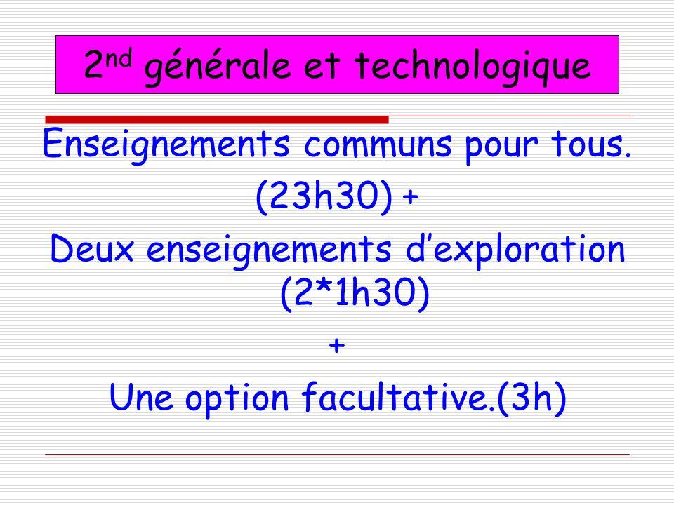 Enseignements communs pour tous. (23h30) + Deux enseignements dexploration (2*1h30) + Une option facultative.(3h) 2 nd générale et technologique