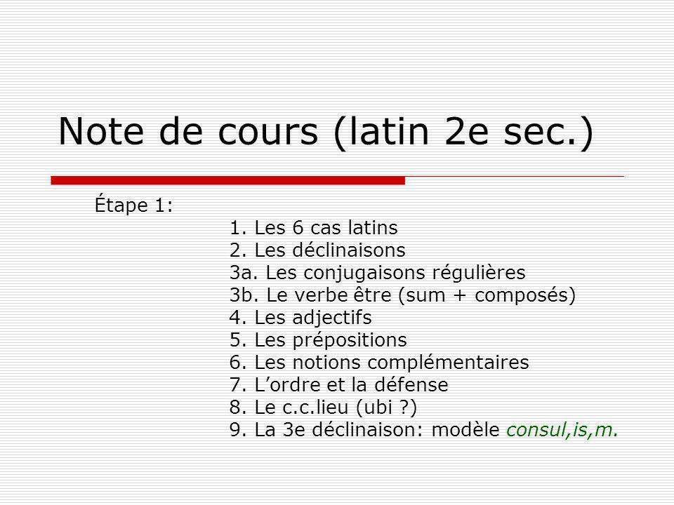 Note de cours (latin 2e sec.) Étape 1: 1. Les 6 cas latins 2. Les déclinaisons 3a. Les conjugaisons régulières 3b. Le verbe être (sum + composés) 4. L