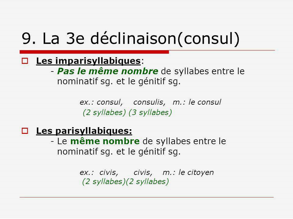 9. La 3e déclinaison(consul) Les imparisyllabiques: - Pas le même nombre de syllabes entre le nominatif sg. et le génitif sg. ex.: consul, consulis, m