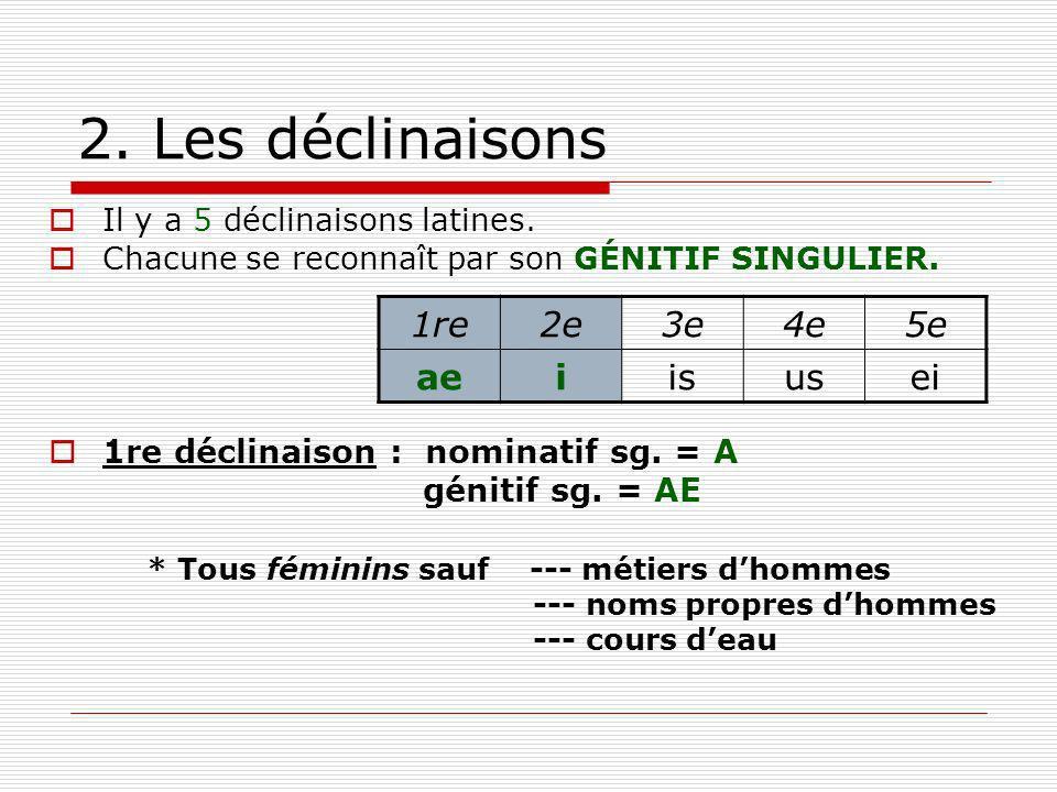 2. Les déclinaisons Il y a 5 déclinaisons latines. Chacune se reconnaît par son GÉNITIF SINGULIER. 1re déclinaison : nominatif sg. = A génitif sg. = A