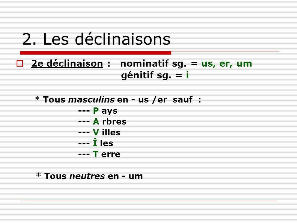 2. Les déclinaisons 2e déclinaison : nominatif sg. = us, er, um génitif sg. = i * Tous masculins en - us /er sauf : --- P ays --- A rbres --- V illes