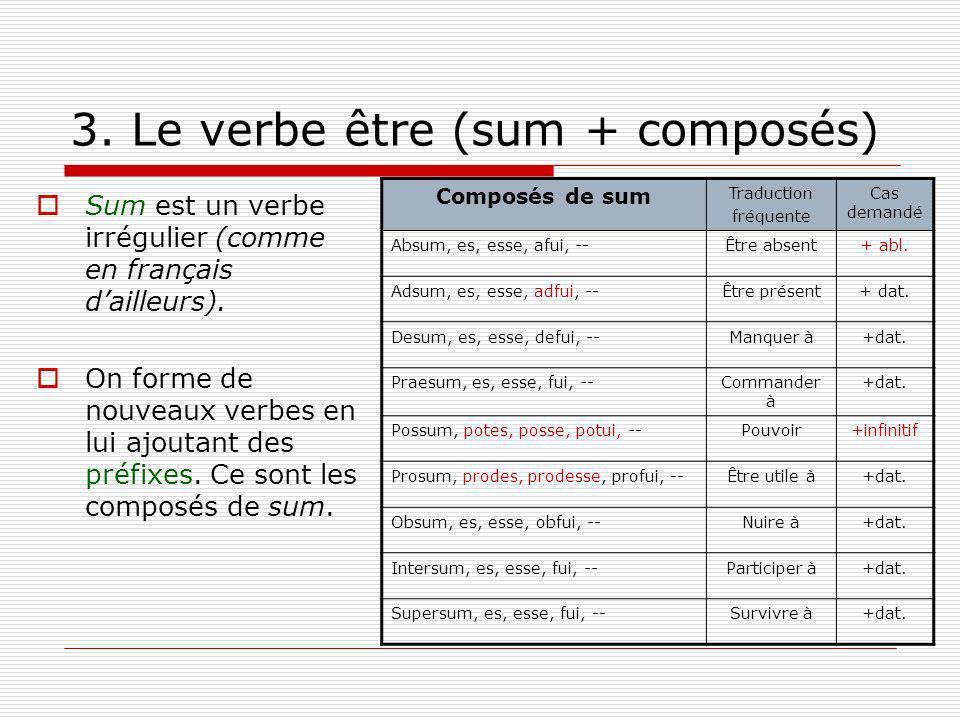 3. Le verbe être (sum + composés) Sum est un verbe irrégulier (comme en français dailleurs). On forme de nouveaux verbes en lui ajoutant des préfixes.