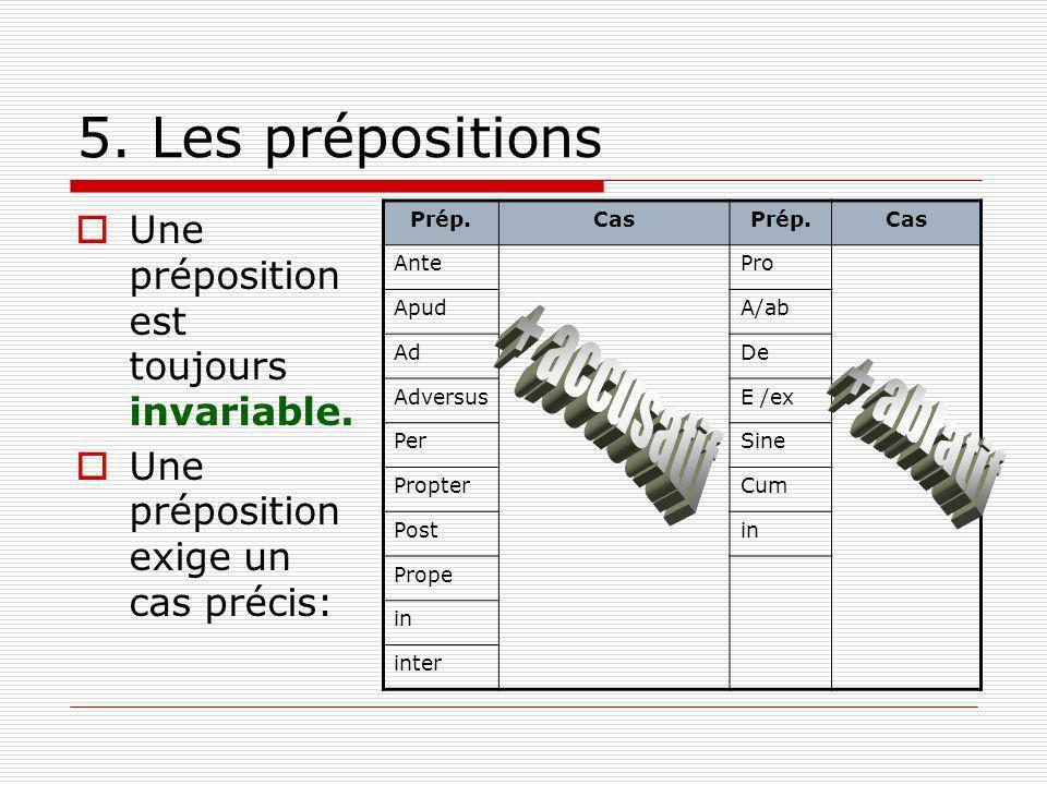 5. Les prépositions Une préposition est toujours invariable. Une préposition exige un cas précis: Prép.CasPrép.Cas AntePro ApudA/ab AdDe AdversusE /ex